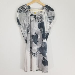 Leifsdottir Anthro lithograph floral silk dress